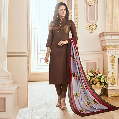 Impressive Brown Colored Partywear Hand Embroidered Cotton Suit