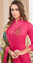 Gorgeous Pink Colored Partywear Hand Embroidered Cotton Suit