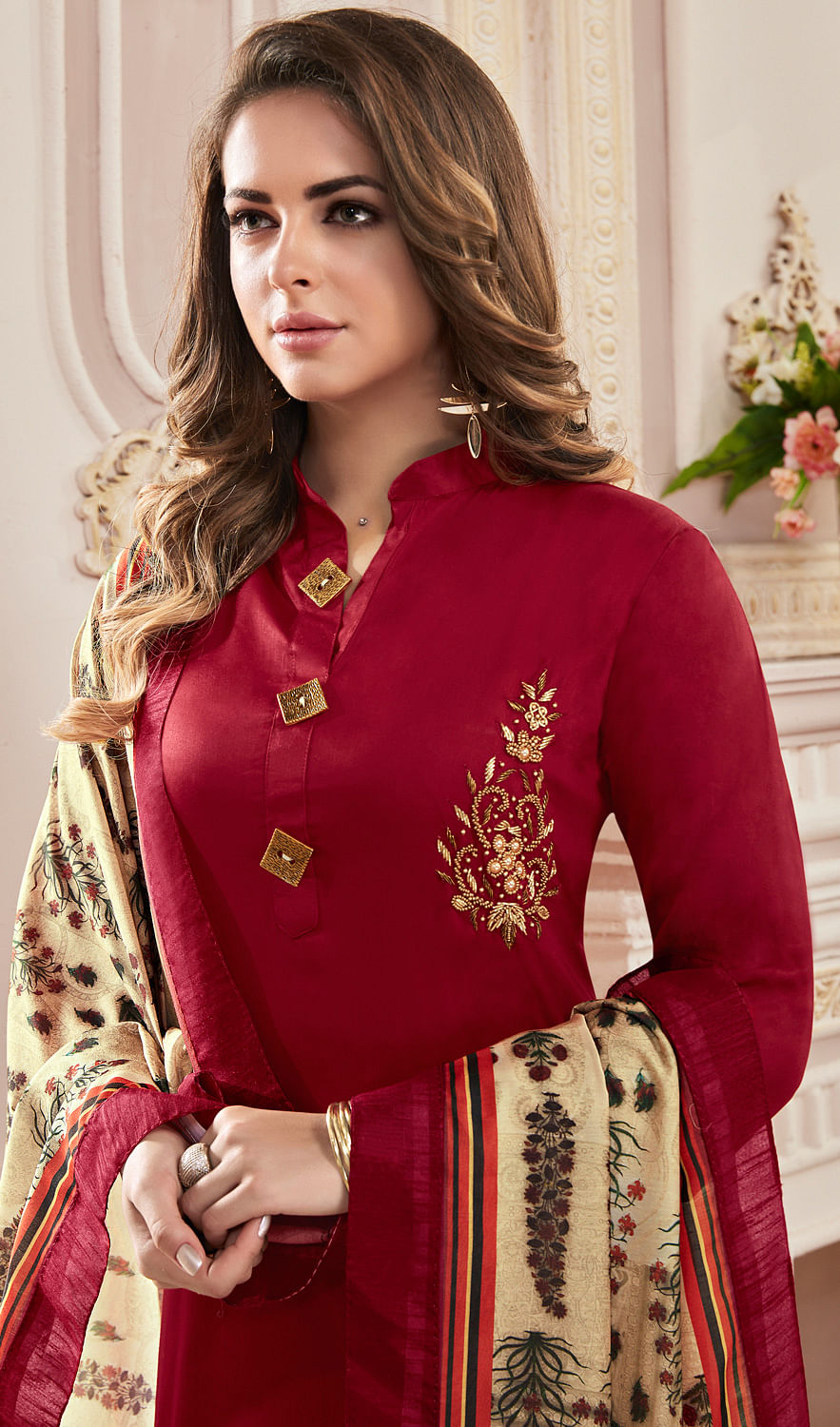 Desiring Maroon Colored Partywear Hand Embroidered Cotton Suit