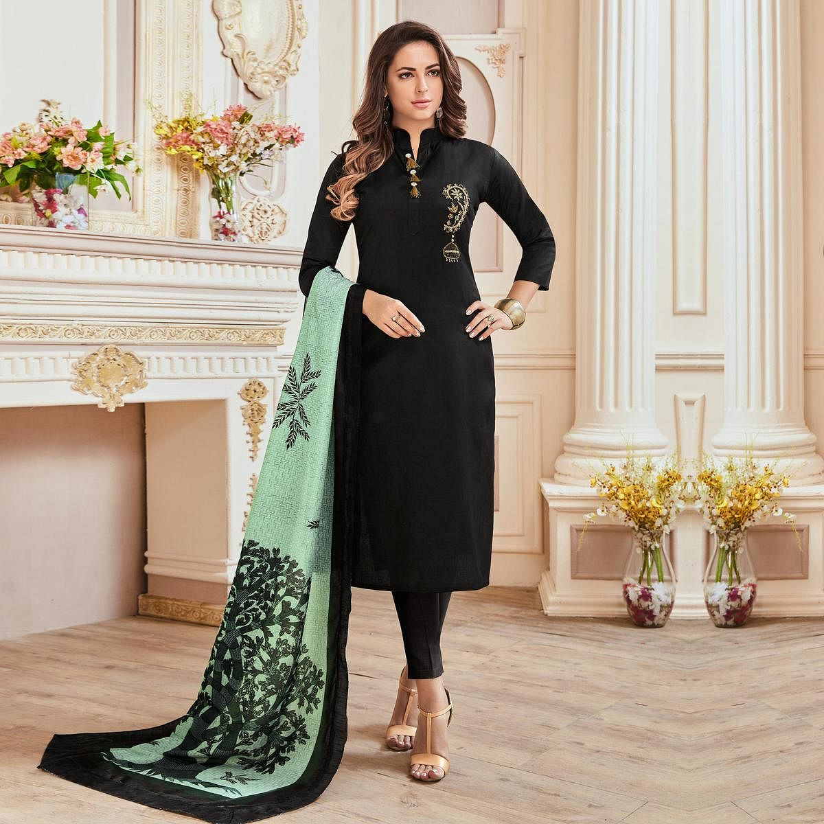 Demanding Black Colored Partywear Hand Embroidered Cotton Suit
