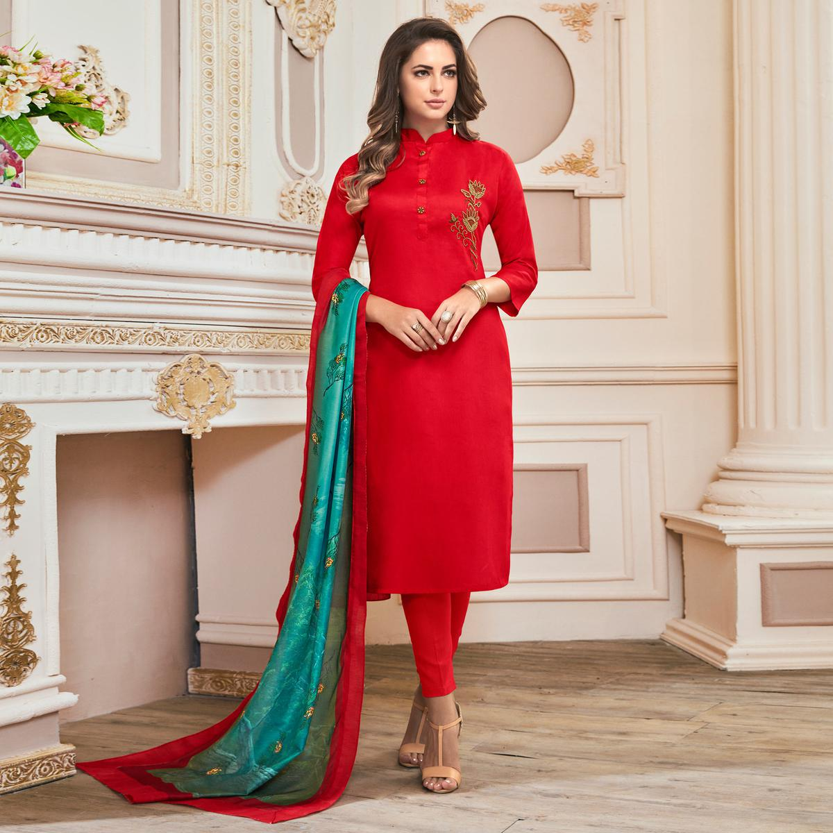 Refreshing Red Colored Partywear Hand Embroidered Cotton Suit