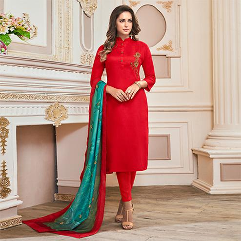 Refreshing Red Colored Partywear Embroidered Cotton Suit