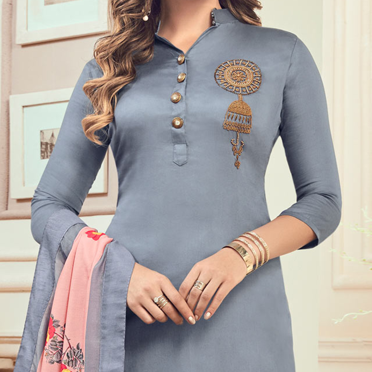 Ravishing Gray Colored Partywear Hand Embroidered Cotton Suit