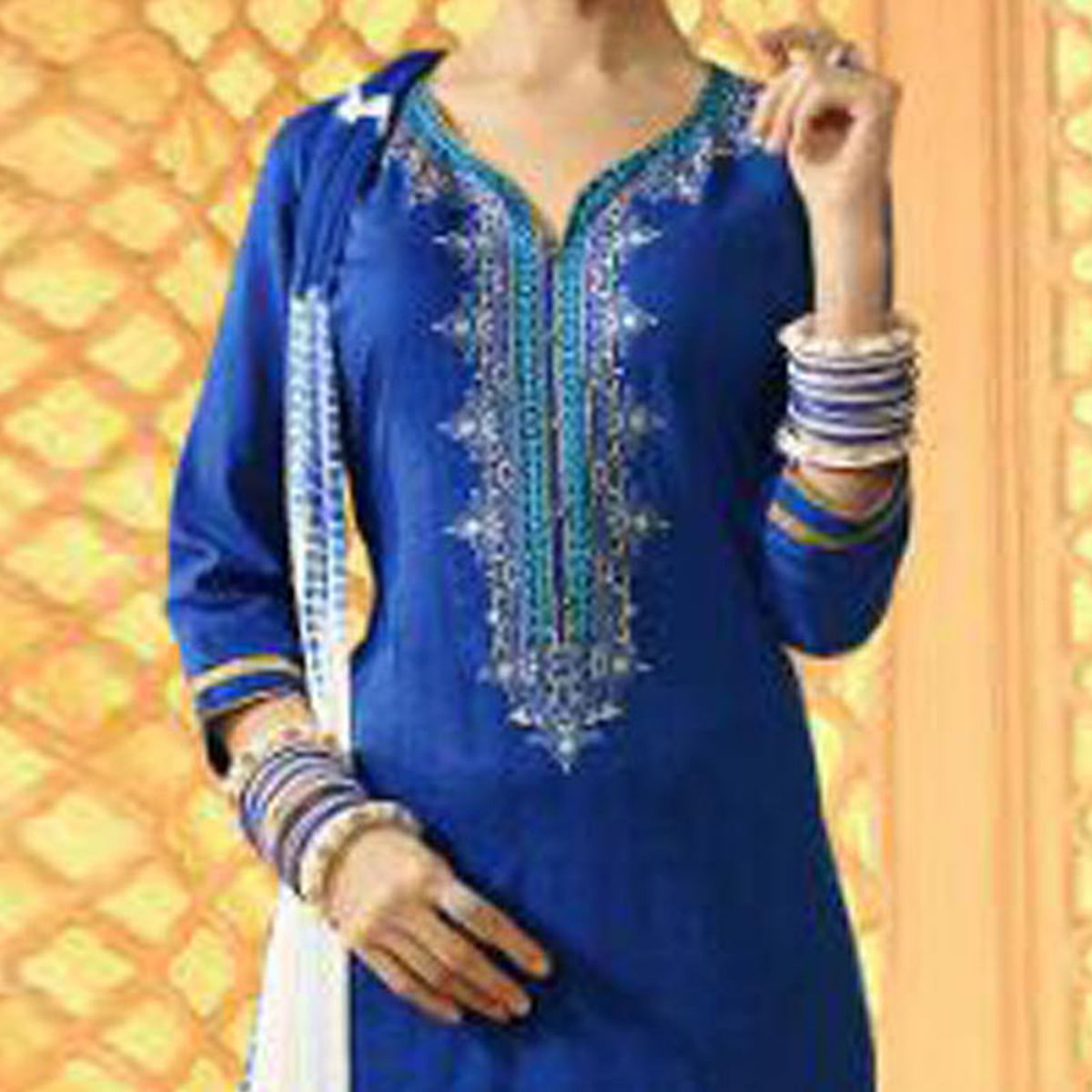 Stunning Blue And White Cotton Jacquard Embroidered Dress Material