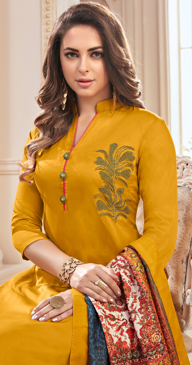 Excellent Yellow Colored Partywear Hand Embroidered Cotton Suit