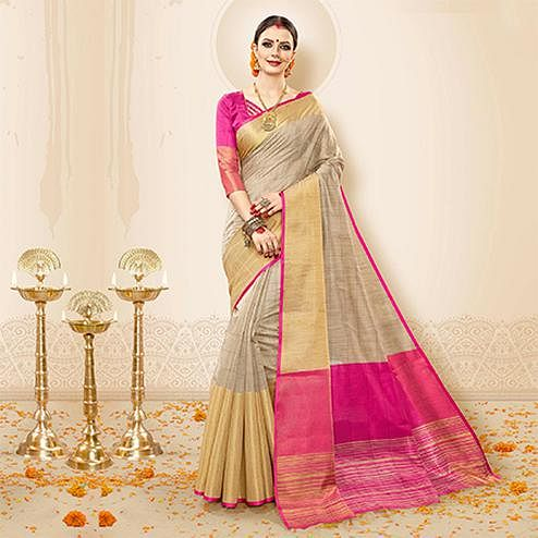 Mesmerising Grey - Pink Colored Festive Wear Cotton Handloom Silk Saree
