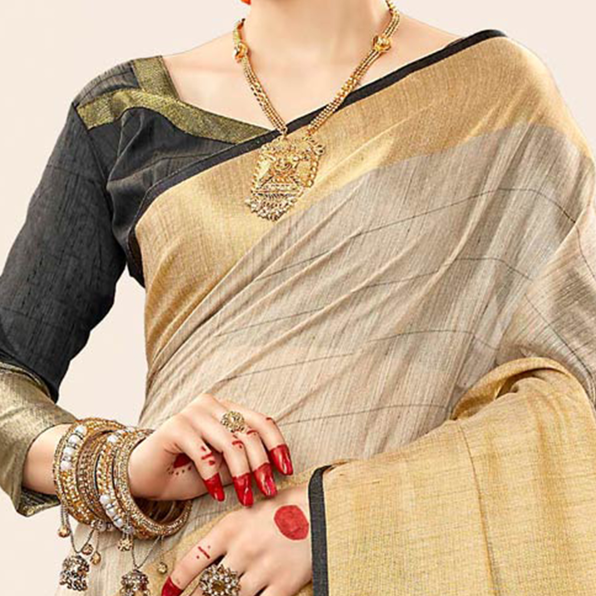 Ravishing Grey - Black Colored Festive Wear Cotton Handloom Silk Saree