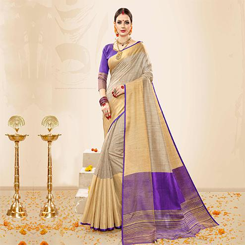 Eye-catching Grey - Purple Colored Festive Wear Cotton Handloom Silk Saree