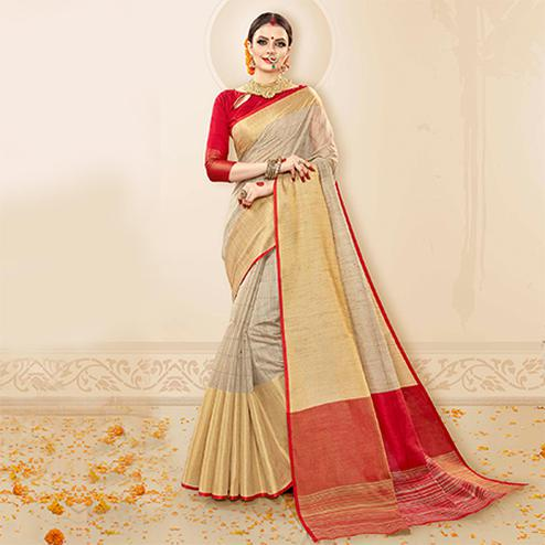 Amazing Grey - Red Colored Festive Wear Cotton Handloom Silk Saree
