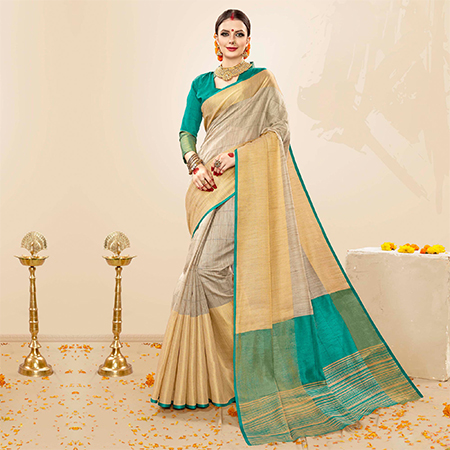 Exotic Grey - Turquoise Blue Colored Festive Wear Cotton Handloom Silk Saree