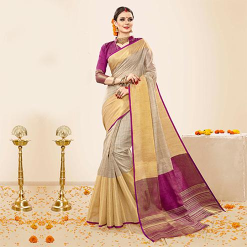 Majesty Grey - Purple Colored Festive Wear Cotton Handloom Silk Saree