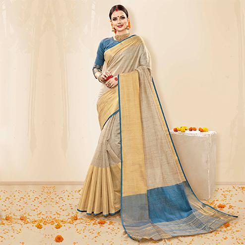 Preferable Grey - Steel Blue Colored Festive Wear Cotton Handloom Silk Saree