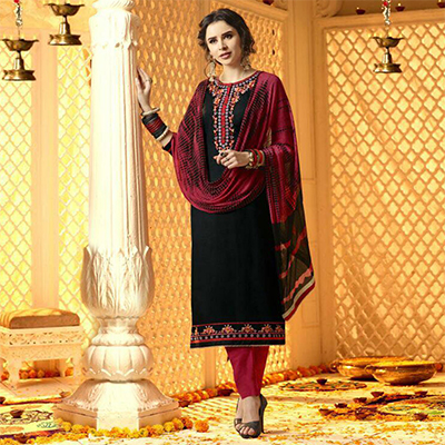 Vivacious Black And Red Cotton Jacquard Embroidered Dress Material