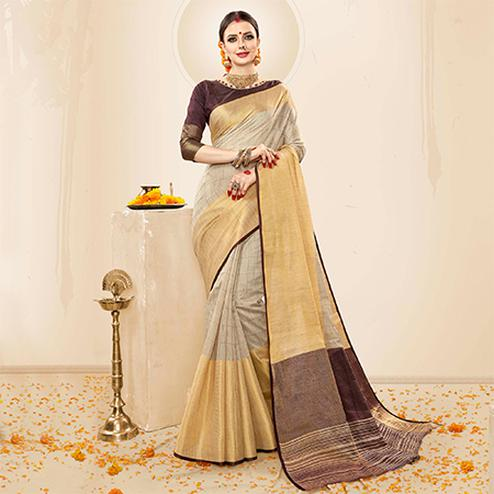 Adorning Grey - Brown Colored Festive Wear Cotton Handloom Silk Saree