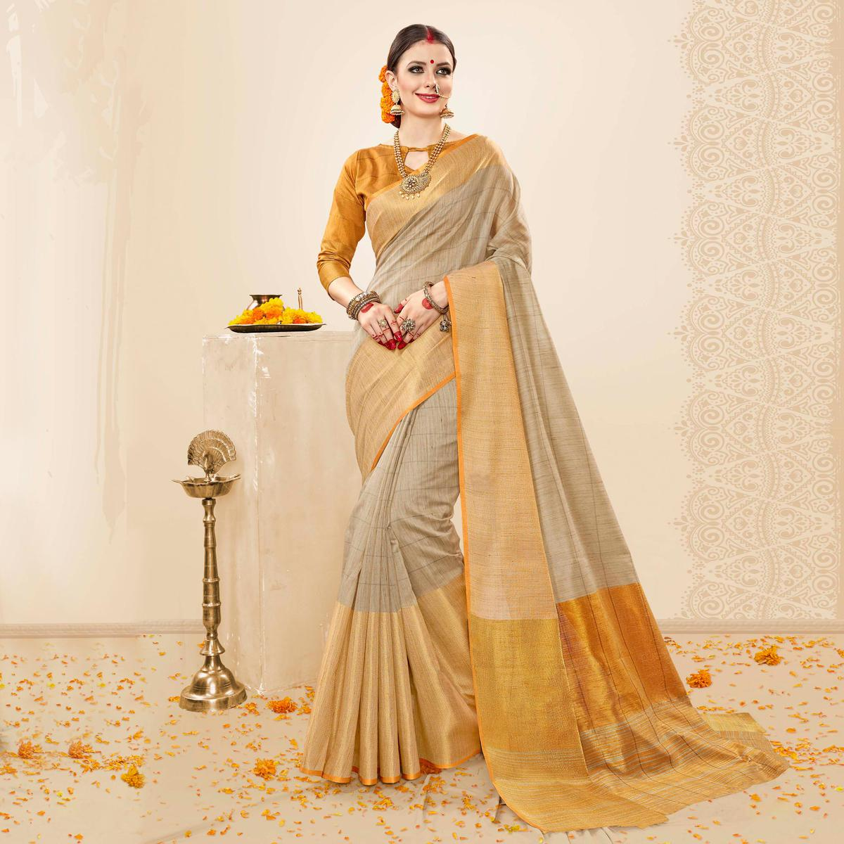 Deserving Grey - Mustard Yellow Colored Festive Wear Cotton Handloom Silk Saree