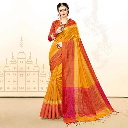 Attractive Mustard Yellow Colored Festive Wear Khadi Cotton Silk Saree
