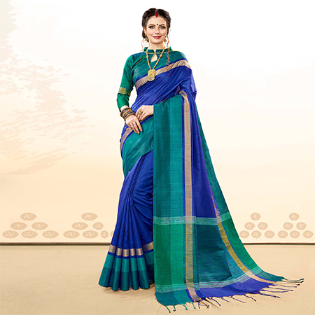 Ravishing Royal Blue Colored Festive Wear Khadi Cotton Silk Saree