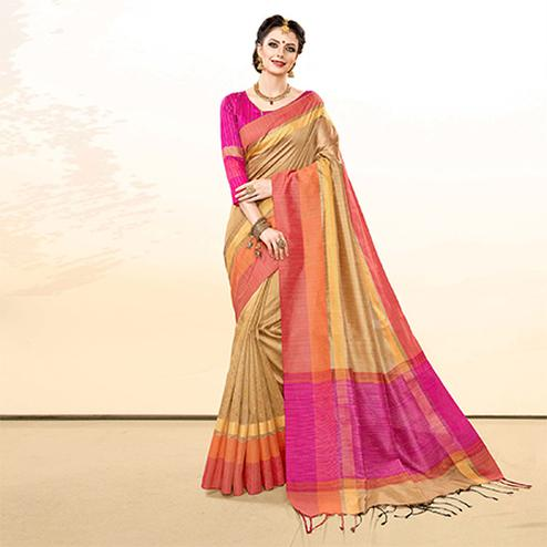 Preferable Beige Colored Festive Wear Khadi Cotton Silk Saree