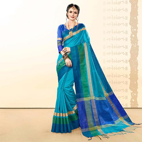 Prominent Cyan Blue Colored Festive Wear Khadi Cotton Silk Saree