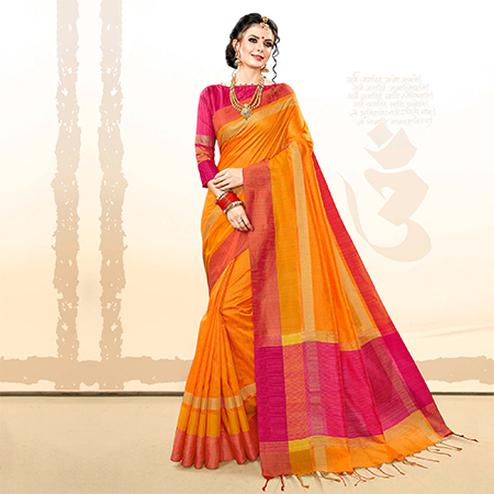 Capricious Orange Colored Festive Wear Khadi Cotton Silk Saree
