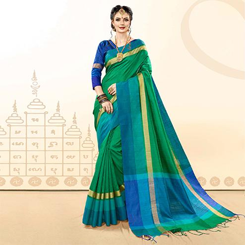 Deserving Green Colored Festive Wear Khadi Cotton Silk Saree