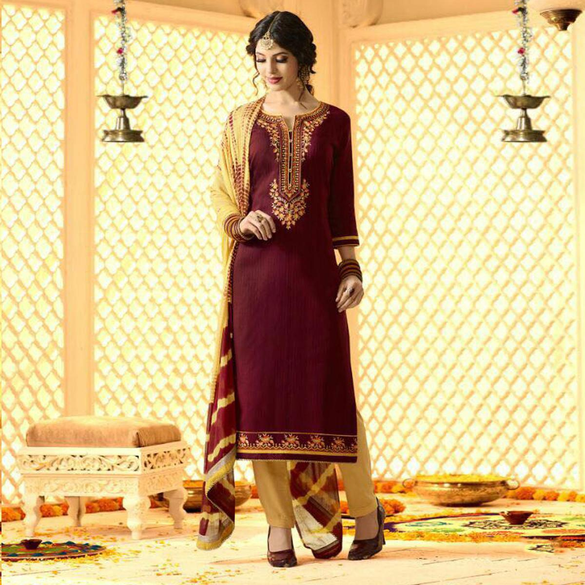Classy Maroon And Cream Cotton Jacquard Embroidered Dress Material