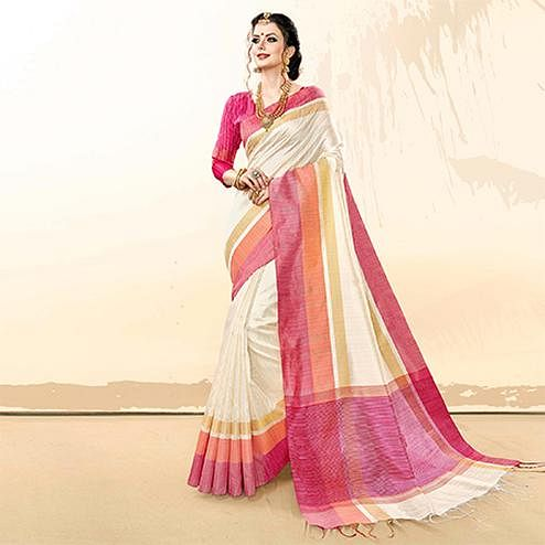 Sensational White Colored Festive Wear Khadi Cotton Silk Saree