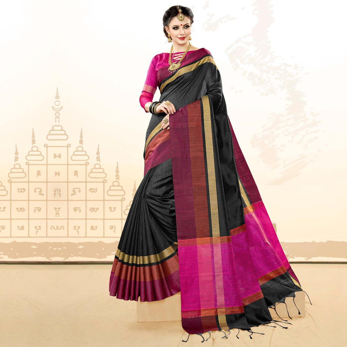 Pleasant Black Colored Festive Wear Khadi Cotton Silk Saree