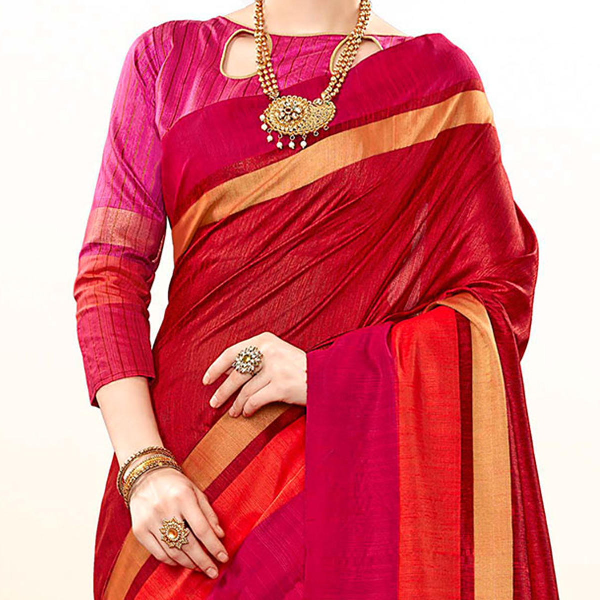 Desirable Red Colored Festive Wear Khadi Cotton Silk Saree