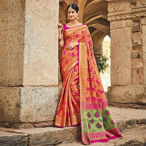 Blooming Orange Colored Festive Wear Traditional Pure Patola Silk Saree