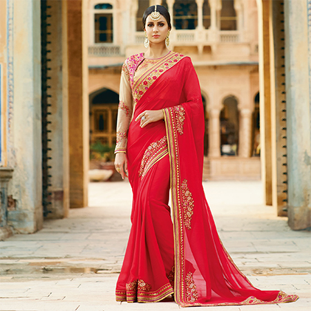 Arresting Red Colored Partywear Designer Embroidered Silk Saree