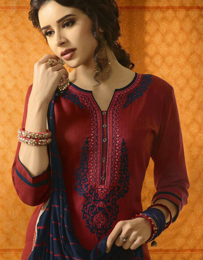 Gorgeous Red And Black Cotton Jacquard Embroidered Dress Material