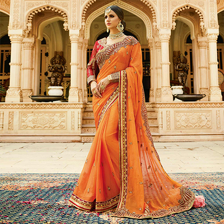 Desiring Yellow Colored Partywear Designer Embroidered Chiffon Saree