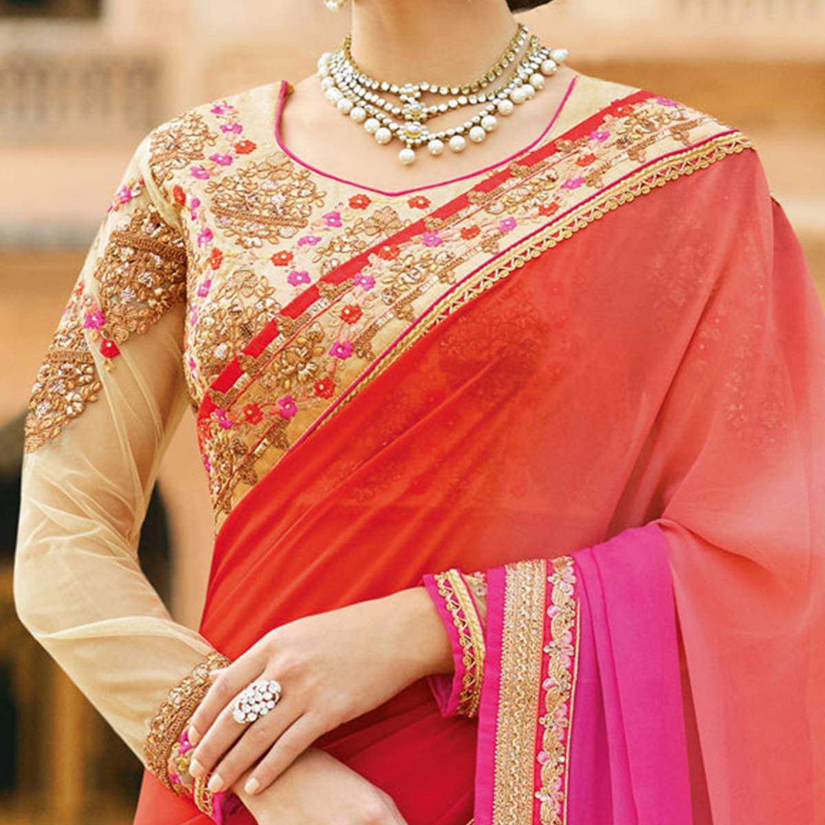 Irresistible Multi Colored Partywear Designer Embroidered Georgette Saree
