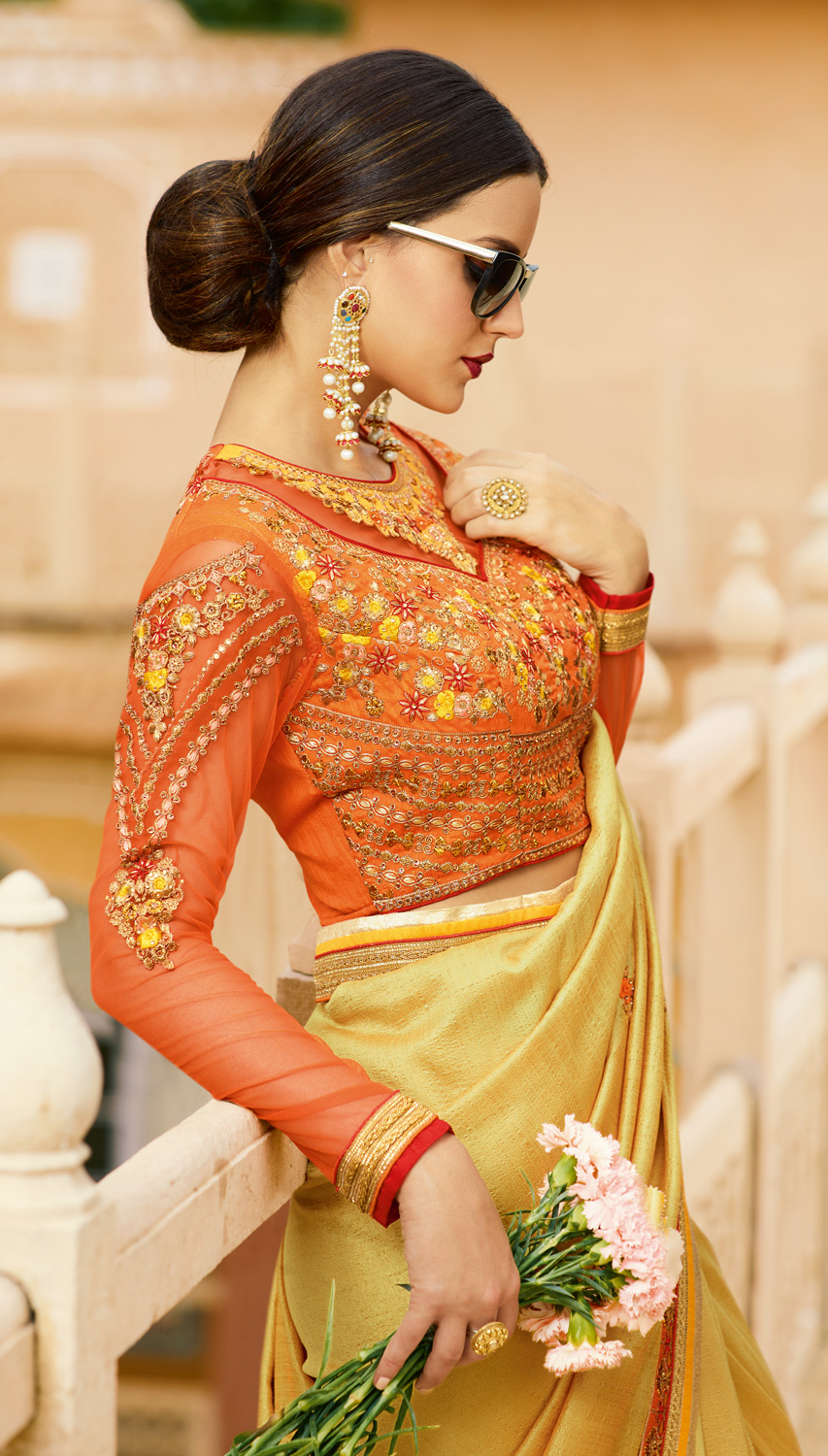 Traditional Yellow Colored Partywear Designer Embroidered Silk Saree