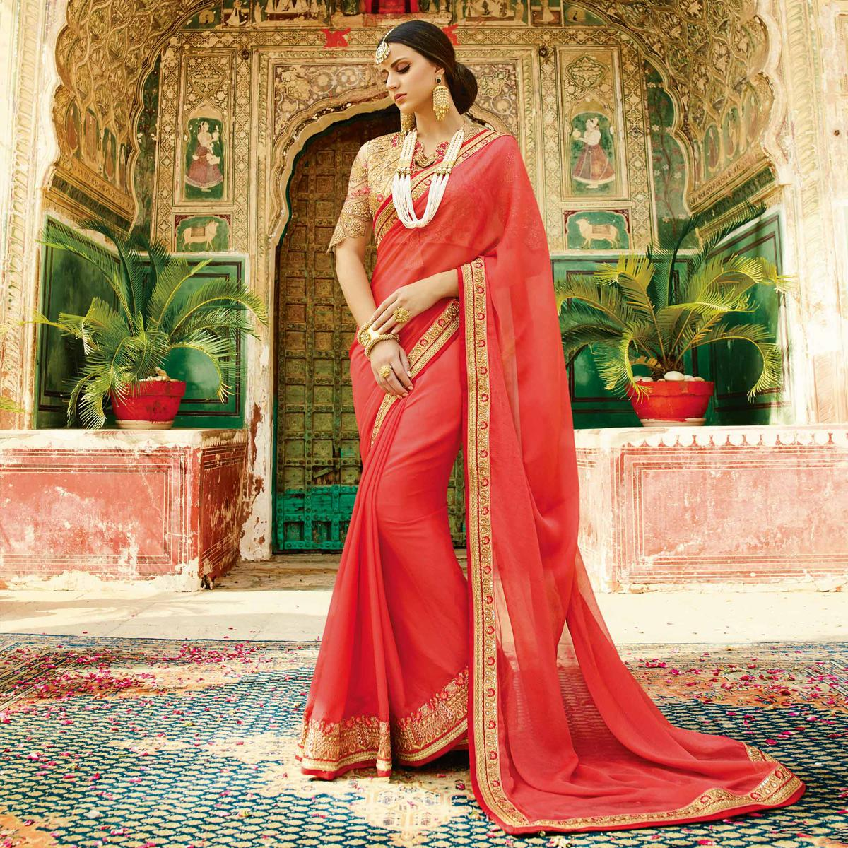 Mesmerising Red Colored Partywear Designer Embroidered Silk Saree