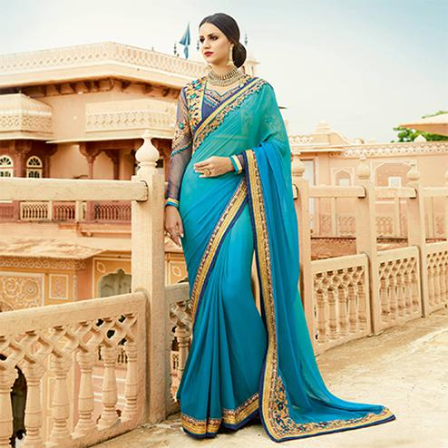 Blooming Sky Blue Colored Partywear Designer Embroidered Silk Saree