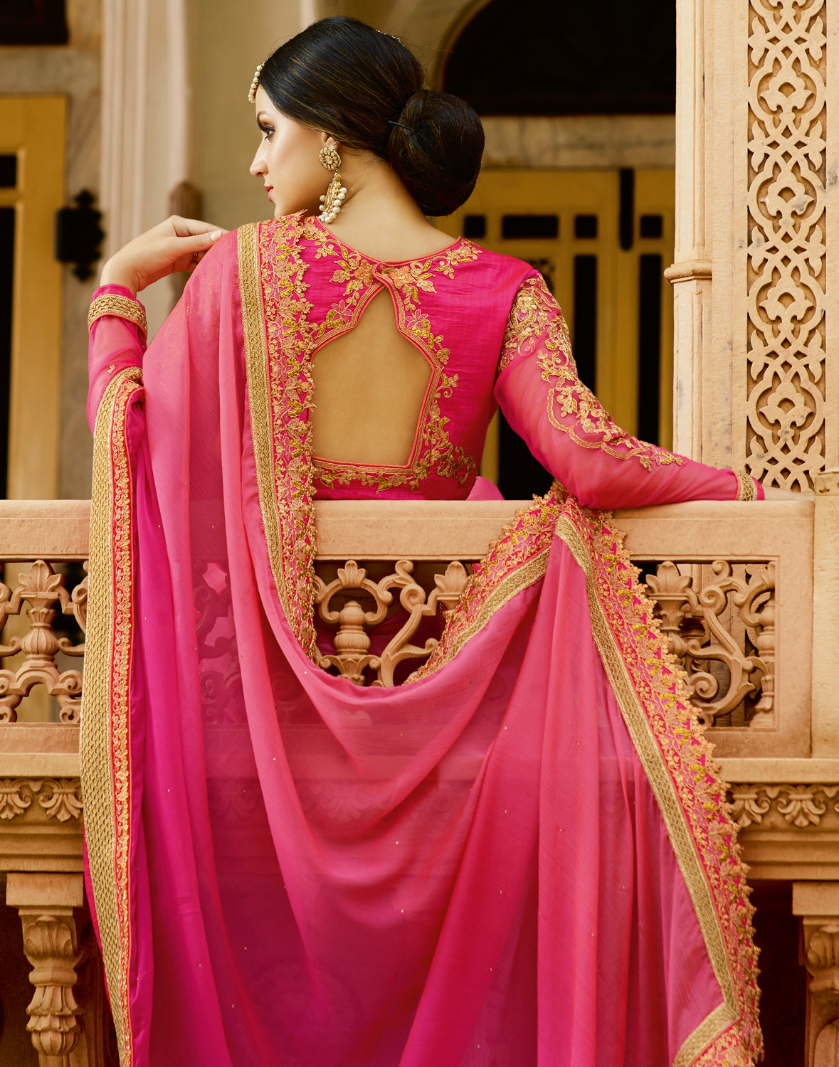Ravishing Pink Colored Partywear Designer Embroidered Silk Saree