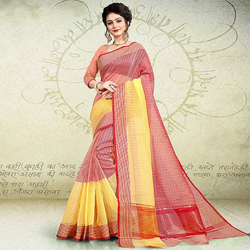 Intricate Yellow-Red Colored Festive Wear Banarasi Cotton Saree