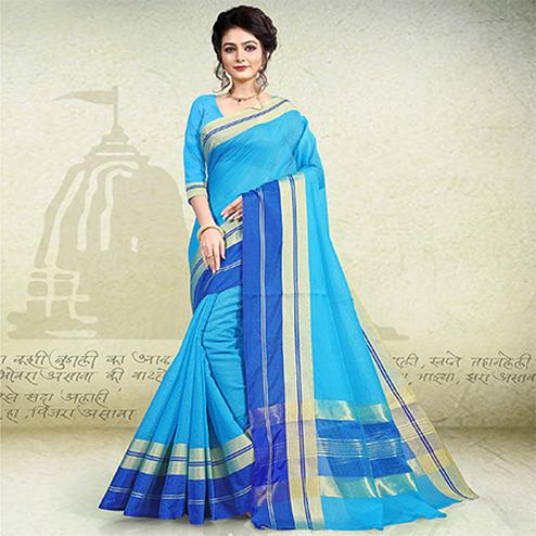 Eye-Catching Sky Blue Colored Festive Wear Banarasi Cotton Saree