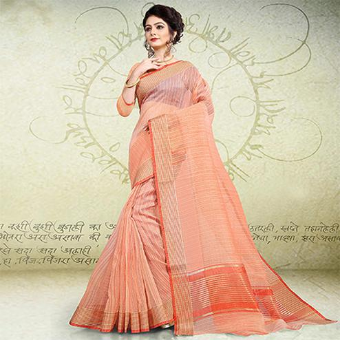 Elegant Peach Colored Festive Wear Banarasi Cotton Saree