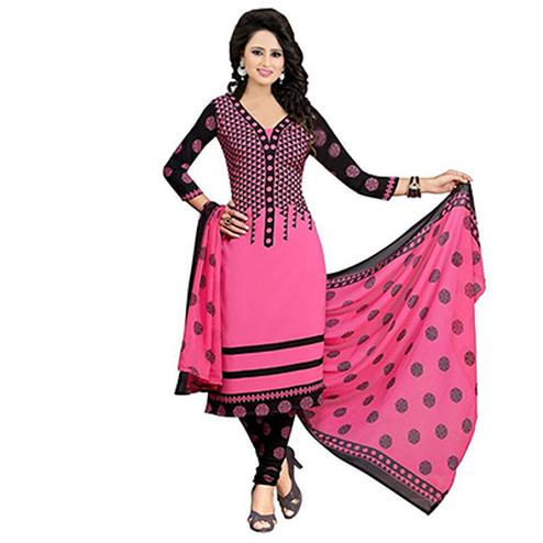 Pink - Black Printed Crape Dress Material