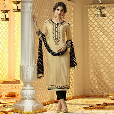 Elegant Cream And Black Cotton Jacquard Embroidered Dress Material