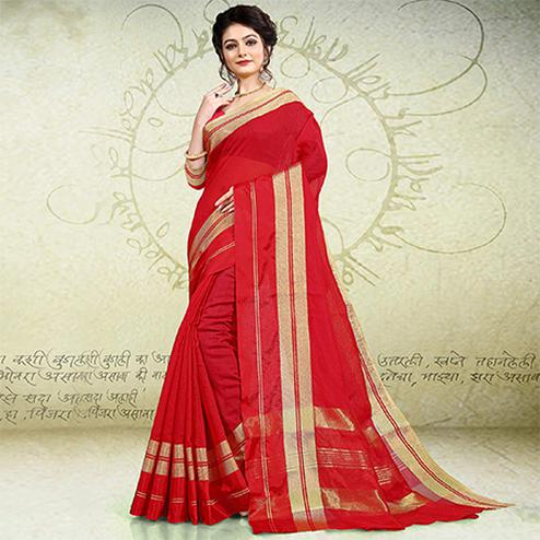 Fantastic Red Colored Festive Wear Banarasi Cotton Saree