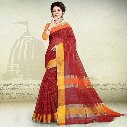Fantastic Maroon Colored Festive Wear Banarasi Cotton Saree