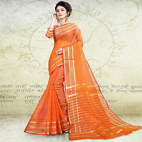 Deserving Orange Colored Festive Wear Banarasi Cotton Saree