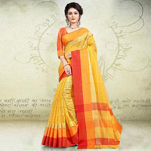 Preferable Yellow-Orange Colored Festive Wear Banarasi Cotton Saree