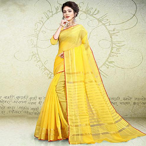 Amazing Yellow Colored Festive Wear Banarasi Cotton Saree