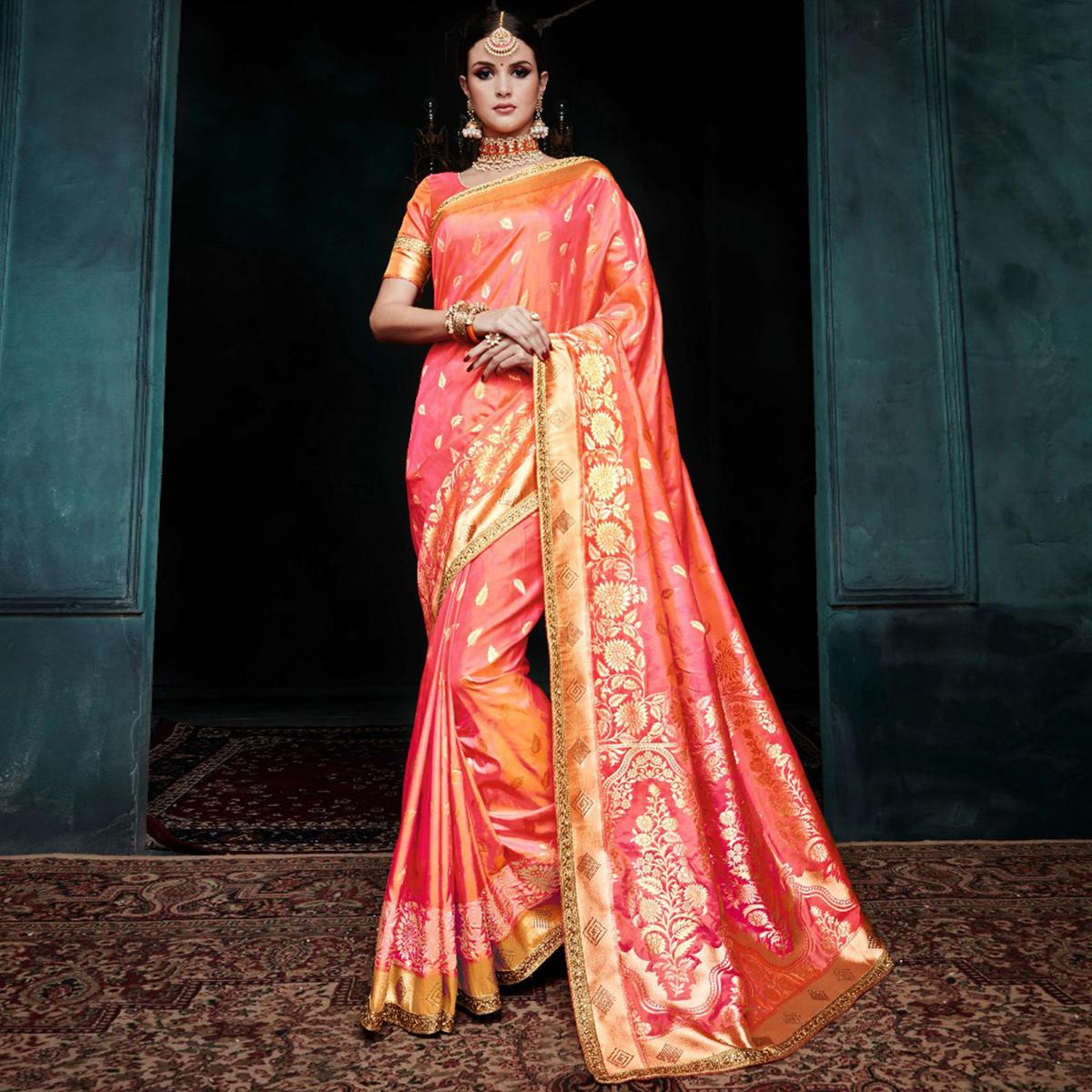 Amazing Pink Colored Festive Wear Woven Cotton Silk Jacquard Saree
