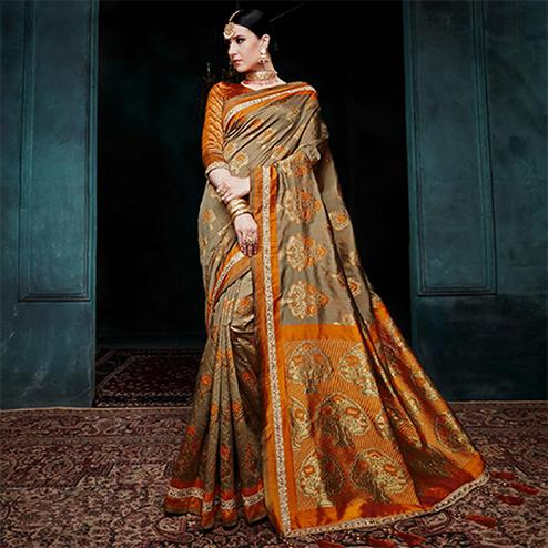 Exotic Dark Beige Colored Festive Wear Woven Cotton Silk Jacquard Saree